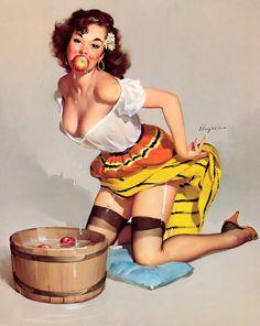 A Nostalgic Halloween: Halloween Pin Up, Dunkin' for Apples, Circa 1957