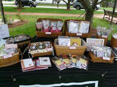 set up greeting cards in baskets