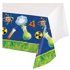 Op dit plastic tafelkleed kun je lekker knoeien tijdens als je experimenten op je science feestje. Formaat 137 x 259 cm. www.creakelder.nl