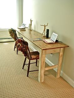 Eric is going to build this to replace our annoying Ikea desk that has fallen apart - simple, long & narrow farmhouse table