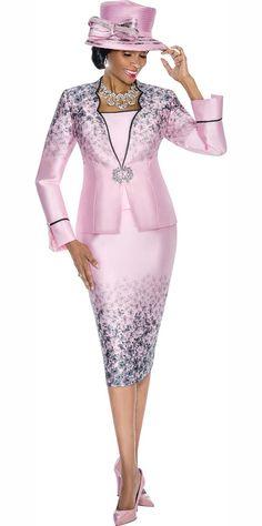 Terramina 7595 Womens Gradient Floral Print Skirt Suit