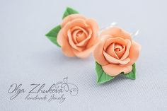 Earrings with roses made of polymer clay di polymerFlowers su Etsy