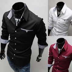 $20.99 Mens Fashion Long Sleeve Casual Business Slim Fit LUXURY Formal Dress - http://www.edealretail.com