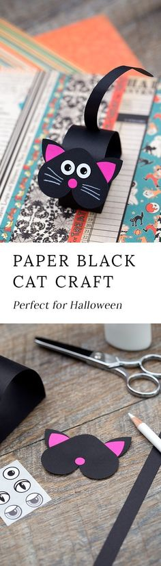 Just in time for Halloween, kids can learn how to make an adorable paper bobble head black cat craft at school or home. #halloween via @https://www.pinterest.com/fireflymudpie/ #halloweencrafts