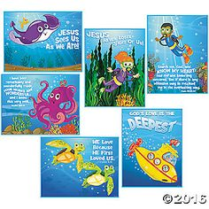 Dive into Vacation Bible School when you decorate your classroom in Under the Sea style! Perfect for your VBS adventure, this set of religious posters is ...