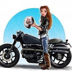 Disney Princesses Are Reimagined as Badass Motorcycle-Riding Babes in This Artwork Disney Girls, Cute Disney, Disney Art, Motorbike Girl, Motorcycle Art, Moto Bike, Cartoon Kunst, Cartoon Art, Disney Kunst