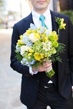 yellow green blue wedding bouquet Glamorous Mill Wedding North Carolina http://whiteboxphoto.com/