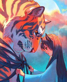 Tangled Tiger by nakanoart on DeviantArt