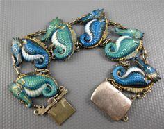 Rare Japanese Silver & Porcelain Toshikane Arita Seahorse Bracelet 1940-50's