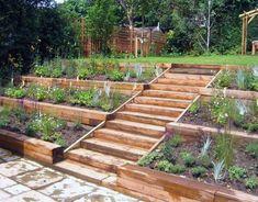 Sloped Backyard Landscaping, Landscaping On A Hill, Sloped Yard, Backyard Garden Design, Diy Garden, Garden Projects, Landscaping Ideas, Backyard Ideas, Garden Bed