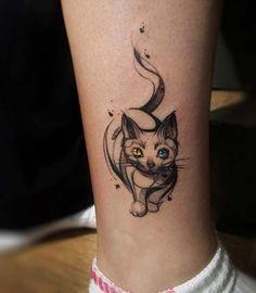ankle colorful eye cat tattoo renkli göz kedi ayak bileği dövmesi