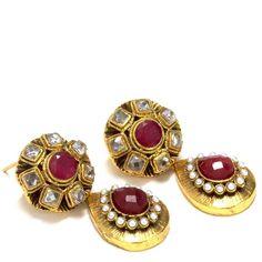 ethnic earrings | Dark pink on gold drop ethnic earrings | Aniika