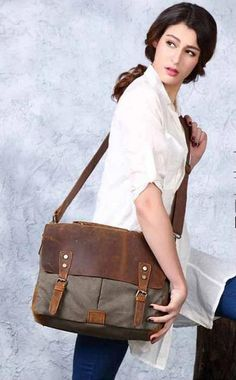 Vintage Style Canvas Leather Flap-over Messenger Bag with Brass Accents 5f7e423245