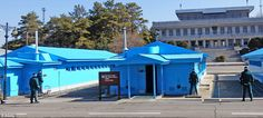 Tense surroundings: Visitors can see soldiers facing towards the North Koreans at the Joint Security Area