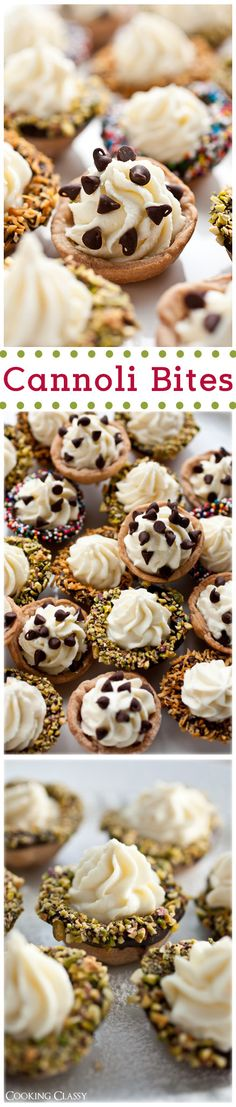 Cannoli Bites - these delicious bite size treats are perfect for parties! Loved these!
