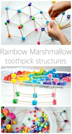 Create some beautiful rainbow marshmallow and toothpick structures in this colourful, mathematical invitation to play for kids of all ages! Toddler Activities, Preschool Activities, 5 Year Old Activities, Kids Motor, Group Games For Kids, Indoor Games For Kids, Imagination Tree, Crafts For Kids, Arts And Crafts