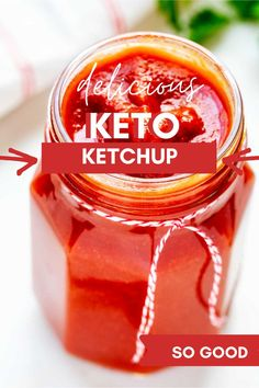 You will fall in love with this homemade Low Carb Keto Ketchup Recipe! It is the perfect way to enjoy your favorite comfort foods. This sugar free recipe is perfect for your keto diet! I love it on burgers, meat loaf, and in sloppy joes. Once you try it you may never go back to store bought! Sugar Free Recipes, Low Carb Recipes, Real Food Recipes, Low Carb Ketchup, Keto Sauces, Low Carb Keto, Food Print, Comfort Foods, Meat Loaf