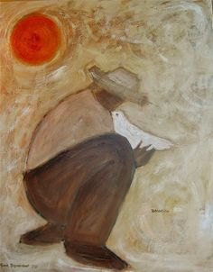 """Boy with White Dove"" 48x60 by karen bezuidenhout. sold- 2010."