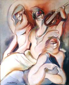 Sergio Ferreira - 3 figuras - óleo sobre painel - (Obra da capa do IV Salão Nobre Centenário de 15 de Setembro de 1989). ACID circa 89 - Medida da obra aprox. 1,21 x 99