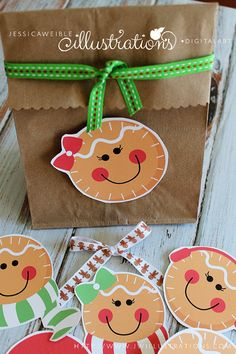 Gingerbread Faces Cute Christmas Printable Collage Sheet, Commercial Use OK, Christmas Clipart, Gingerbread Graphics #christmas #party #printables #holiday #events