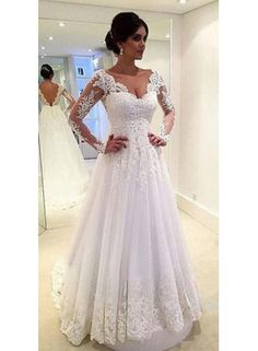 USD$189.00 - Long Sleeves Lace A-line Wedding Dresses V Neck Open Back Floor Length Bridal Gowns - www.babyonlinedress.com