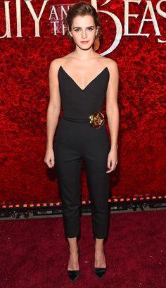 Emma Watson in a strapless black Oscar de la Renta jumpsuit