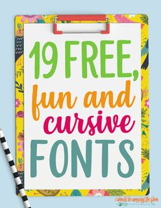 These 19 Fun Cursive Fonts are free and fantastic. Since cursive fonts are so versatile, these work for a variety of projects. From printables to vinyl designs, crafting, and more. Script Lettering, Handwritten Fonts, Typography Fonts, Brush Lettering, Police Cursive, Cursive Letters, Cursive Font Download, Free Cursive Fonts, Font Free