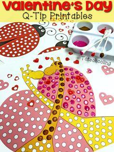 Zadarmo na vytlačenie Valentín maľovanie s q-tipy aktivite!