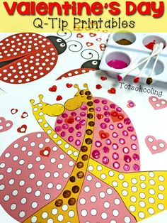 Free printable Valentine's Day painting with q-tips activity!