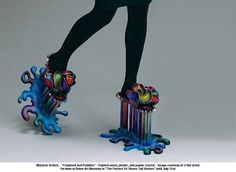 """artwork: Marjorie Schick -  """"Chopines and Puddles"""" - Painted wood, plastic, and papier maché. - Image courtesy of © the artist. On view at Boise Art Museum in """"The Perfect Fit: Shoes Tell Stories"""" until July 31st."""