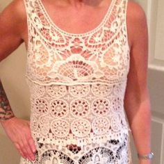 Beautiful Lace/Crochet Type Top. Cream color. Very classy, and detailed stitching. Tag says Large. But fits like a Medium Ultra Pink Tops