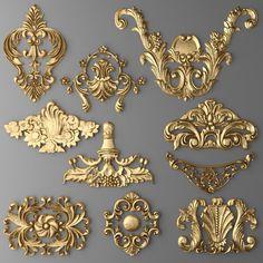 Discover thousands of images about cartouches set 2 model max obj fbx mtl unitypackage 1 Baroque Ornament, Baroque Decor, Decorative Plaster, Plaster Art, Plaster Molds, Wood Carving Designs, 3d Cnc, 3d Modelle, Tanjore Painting