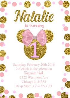 Shop Minnie Mouse Birthday Chalkboard Invitation created by MickeyAndFriends. Minnie Mouse Birthday Invitations, Minnie Mouse First Birthday, Minnie Mouse Pink, Baby Girl First Birthday, Pink Invitations, Minnie Mouse Party, 1st Birthday Parties, Invitations Online, Personalized Invitations