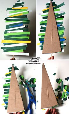 Fir tree made of colored paper stripsA tree that can be created with a child to illustrate another tree with colored paper strips and different cardboard boxes.Greet Advent with a wreath on the door - Preschool Christmas, Noel Christmas, Christmas Activities, Christmas Crafts For Kids, Christmas Projects, Simple Christmas, Holiday Crafts, Christmas Decorations, Christmas Ornaments