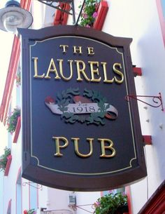 - English Pub Blade Sign with Carved Art and Gold-leaf Letters Carved Wood Signs, Custom Wood Signs, Blade Sign, Uk Pub, Shop Signage, Shop Facade, British Pub, Pub Food, Pub Signs