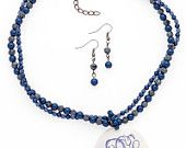 Monogrammed Blue and Grey Earring and Necklace Set