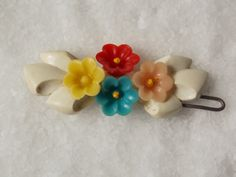 vintage baby bows plastic   ... Vintage Plastic Barrette White Bow Tiny Cute Flowers Sweet Baby Hair