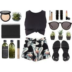 Fashion Blogger by cassie-paps on Polyvore featuring ASOS, Yves Saint Laurent, NARS Cosmetics, Clarins, The New Black, Muji, PLANT, shorts, BloggerStyle and floralprint