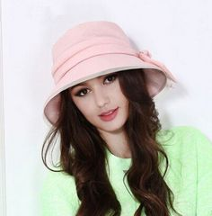 Bow sun protection hats for women UV summer bucket hat