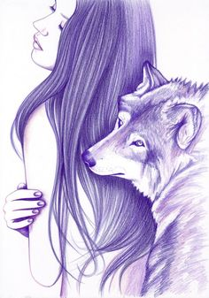 Mirrors Poster by Andrea Hrnjak. Purple portrait of a girl with long hair with her eyes closed and a wolf leaning on her. Click through for art prints, phone cases, home decor items and other merch with this beautiful design! Animal Sketches, Animal Drawings, Cute Drawings, Drawing Sketches, Pencil Drawings, Wolf Drawings, Watercolor Wolf, Butterfly Watercolor, Arte Furry
