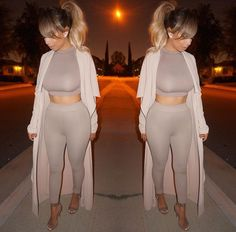 monochromatic leggings and crop set like this for the photo shoot, with and/or without a jacket for layering