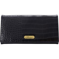 Buxton Nile Exotic Expandable Clutch Women's ($30) ❤ liked on Polyvore featuring bags, wallets, black, ladies small wallets, ladies wallets, crocodile bag, croco wallet, croc wallet, flap wallet and snap closure coin purse