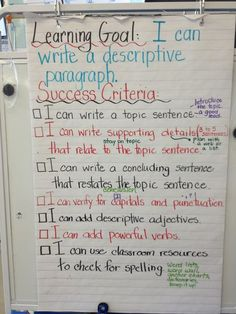 writing a paragraph success criteria - Google Search