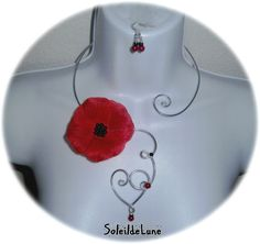 Collier fleur coquelicot rouge Coeur Perles noir rouge+BO Mariage fête soirée : Collier par soleildelune-bijoux-mariage