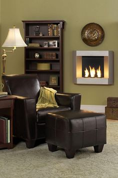 I absolutely need this ventless wall-mountable fireplace...