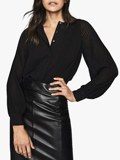 online shopping for Reiss Editha Pleated Blouse from top store. See new offer for Reiss Editha Pleated Blouse Day To Night Dresses, Reiss, Blouse Online, Leather Leggings, Wide Leg Trousers, Lace Sleeves, Black Blouse, Plus Size Dresses, Blouses For Women