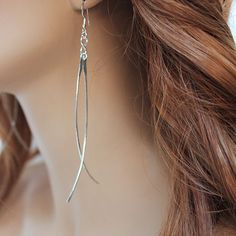 Long Sterling Silver Fashion Earrings