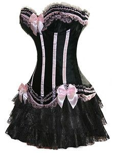 Black and pinkk corset with black skirt. Very pretty.