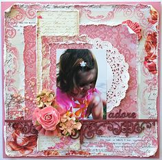 shabby chic scrapbooking layouts - Bing Images--I LIKE THE LAYERED PAPER WITH THE TATTERED EDGES