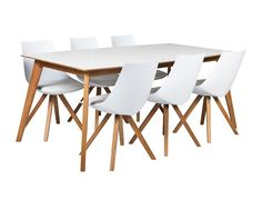 Rowicon skandinaavinen moderni ruokapöytä. Kestävää valkoista korkeapainelaminaattia, puurungolla. Runkovärit tammi ja musta.